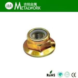 Yellow Zinc Plated Steel Nylon Insert Hex Flange Lock Nut pictures & photos