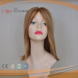 Machine Made Blond Medium Human Hair Silk Top Women Wig pictures & photos