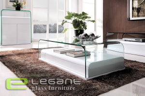 Clear Glass Tea Table with MDF Base pictures & photos
