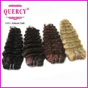 100% Human Hair Color 4 Brown Brazilian Deep Wave Virgin Hair Weaving pictures & photos