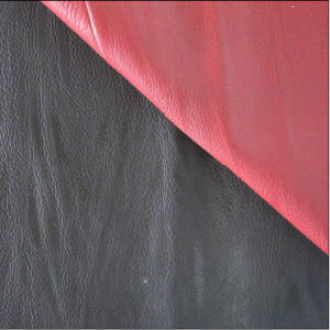 Black and Red PU Artificial Leather for Sofa Mg26 pictures & photos