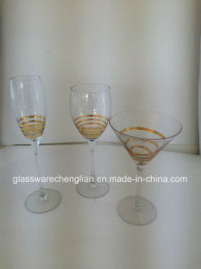 Martini Glass with Gold Swirls pictures & photos