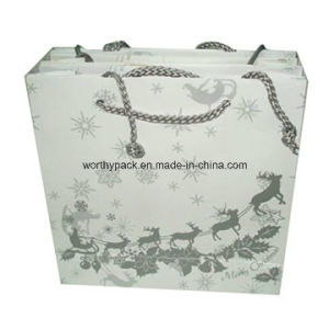 Customized White Color Paper Handle Styled Gift Bag with Cmyk Printing pictures & photos
