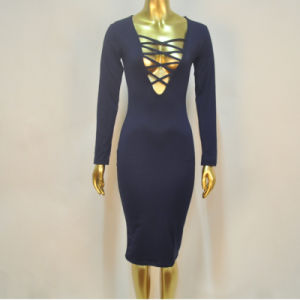 2016 Long Sleeve Knee Length Open Breast Women Sexy Bandage Dress pictures & photos