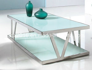 Modern Living Room Stainless Steel Clear Glass Center Coffee Table pictures & photos