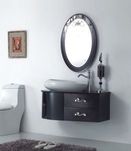 Black Silver on Floor Modern Mirrored Stainless Steel Bathroom Cabinet (JN-88850) pictures & photos