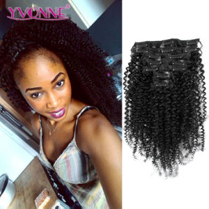 Brazilian Kinky Curly Clip in Hair Extensions pictures & photos