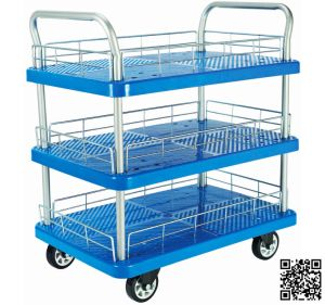 150kg Triple Decker Plastic Platform Hand Trolley with Mesh pictures & photos