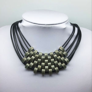 Seven Roll Leather Thread Alloy Beads Necklace (XJW13773) pictures & photos