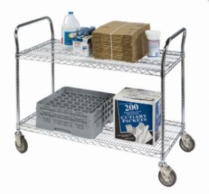 Chrome Metal Garbage Hand Push Trolley Cart pictures & photos