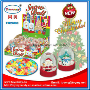 Christmas Promotion Glass Snow Ball Toy with Candy