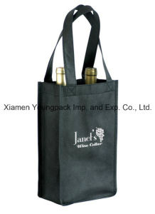 Custom Black Nonwoven Reusable Promotional Bag for Wine pictures & photos