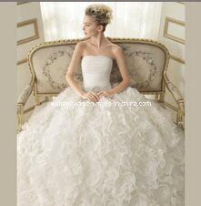 Satin Organza Column off-Shoulder Wedding Dress