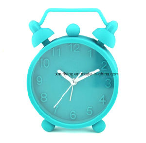 Unbreakable Fluorescent Color Twin Bell Snooze Mute Silicone Mini Table Alarm Clocks pictures & photos
