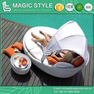 Rattan Daybed Wicker Sofa 2-Seater Lounge Leisure Sofa Patio Daybed Deck Daybed (Magic Style) pictures & photos