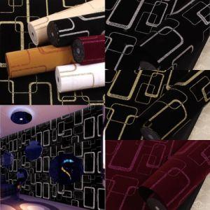 Flocking Fabric Glitter Wallpaper for KTV Wall Decoration (JSL166-001)