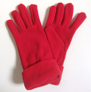 Lady Fashion Red Polar Fleece Knitted Winter Warm Gloves (YKY5446) pictures & photos