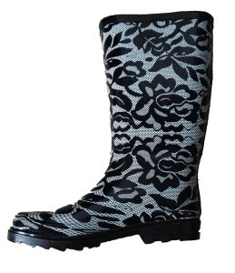 Ladies Fashion Black Lace Rubber Rain Boots pictures & photos