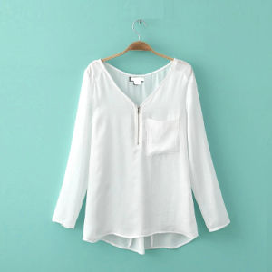 OEM Women Shirt Long Sleeve Office Front Zipper Women Blouse pictures & photos
