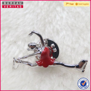 Wholesale Metal Alloy Enamel Ice Skate Girl Brooch pictures & photos