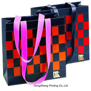 Paper Handle Gift Shopping Bag with Square Printing for Clothing