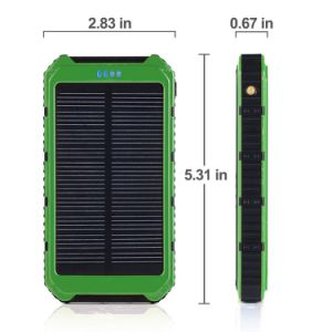 Solar Charger Portable Solar Power Bank 10000mAh Dual USB Battery Charger External Backup Power Pack for Cellphone Camera GPS Tablets and Other 5V USB Devices pictures & photos