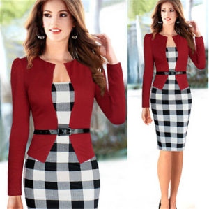 Women Pencil Dress Ladies Long Sleeve Checked Dresses with Belt pictures & photos