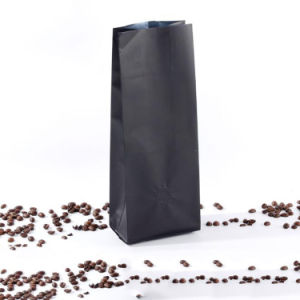 Flat Bottom Gusset Stand up Black Matte coffee Plastic Bag with Valve pictures & photos