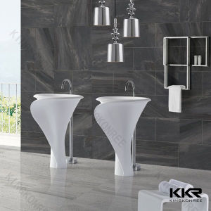 Matte Bathroom Sink Acrylic Solid Surface Freestanding Basin pictures & photos