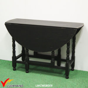 China Round Flexible Vintage Wooden Dining Table Black