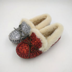 Red Glitter PU Faux Fur Indoor Slipper pictures & photos