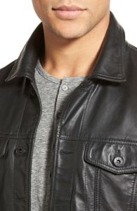 OEM Trim Fit Leather Jacket for Men with Knit Sleeves pictures & photos