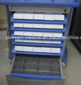 Medical Hospital Furniture ABS Double Side Drug Cart Medicine Trolley pictures & photos