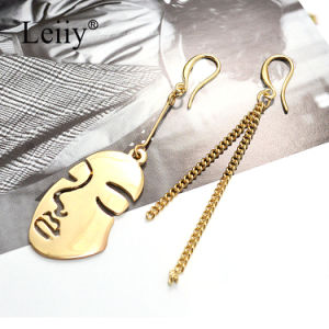 Stylish Asymmetry Women Jewelry Gold Plated Portrait Shape Fashion Earring pictures & photos