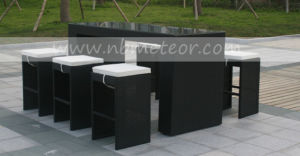 Garden Wicker Chair PE Rattan Furniture Bar Set with Cushion for Outdoor Restaurant (MTC-054) pictures & photos