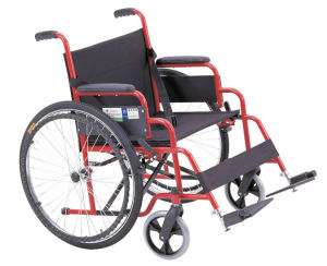 Lifted Armrest and Footrest Red Frame Steel Wheelchair