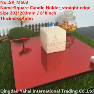 4mm Medium Square Red Glass Mirror Candle Holder pictures & photos