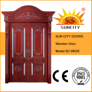Royal Crown Exterior Wooden Entrance Wood Door (SC-W028) pictures & photos