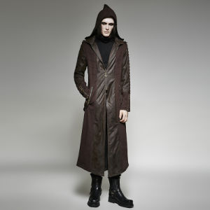 Y-707 Punk Rave Top Brand Heavy Punk Hooded Long Men Trench Coat pictures & photos