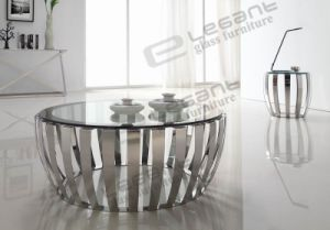 Grey Tempered Glass Coffee Table with Stainless Steel Base pictures & photos