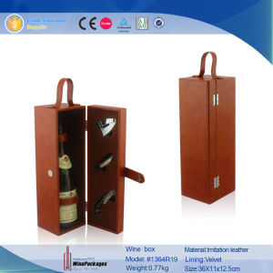 Hand Made Leather Wooden Wine Bottle Boxes (1364R2) pictures & photos