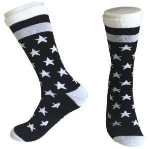 Half Cushion Poly Stripe & Star Fashion Long Socks (JMPC01) pictures & photos