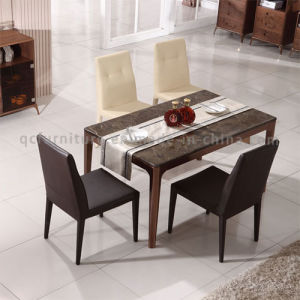 Modern Dining Room New Design Stone Top Rose Gold Stainless Steel Marble Top Table pictures & photos