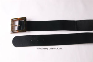 New Fashion Ladies PU Belt Elastic Belt with Resin Buckle -Jbe1632 pictures & photos