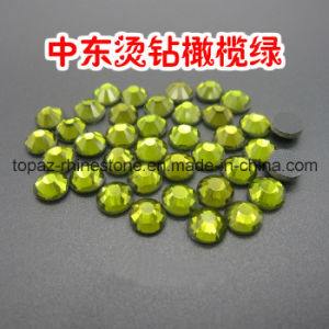 Machine Cut Hotfix Crystals Strass Crystal for Clothes (SS16 Olivine/3A grade) pictures & photos