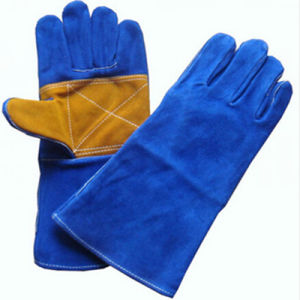 Long Leather Double Palm Welding Gloves with Kevlar Stitching, Leather Working Gloves Supplier, Cow Split Leather Gloves for Welder Use