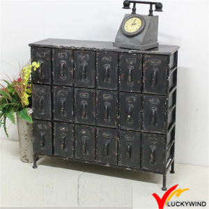 Shabby Chic Vintage Industrial 18 Drawer Black Metal Cabinet pictures & photos