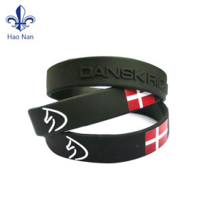 Fashion Rubber Printed Debossed Silicone Wristband pictures & photos
