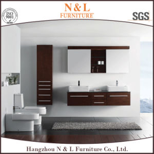 Modern Style Solid Wood Bathroom Vanity with LED Mirror pictures & photos