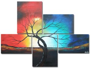 5 Pieces/Set Handmade Landscape Tree Oil Painting on Canvas pictures & photos